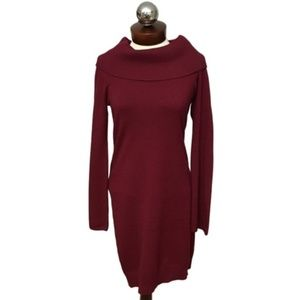 New JOAN VASS sweater dress flare sleeve cowl S